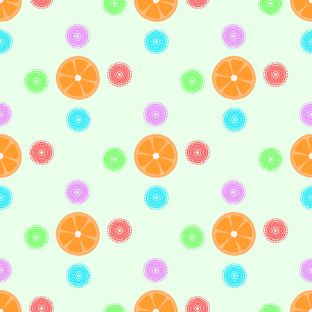 Seamless pattern with oranges and patterns.