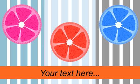 Juicy orange slice. Citrus theme. Your text here,