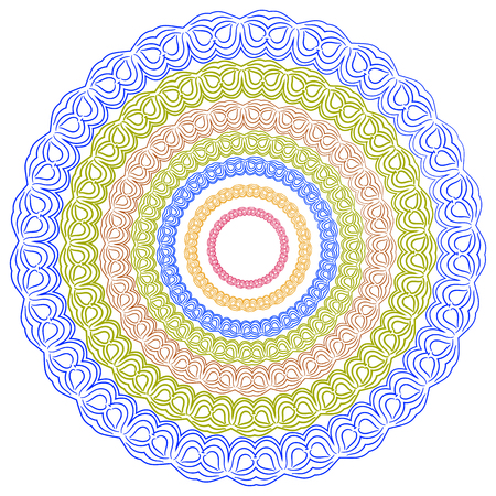 Colorful kaleidoscope pattern. Decorative ornament. Geometric design element. Vector colorful mosaic. Abstract vector flower.