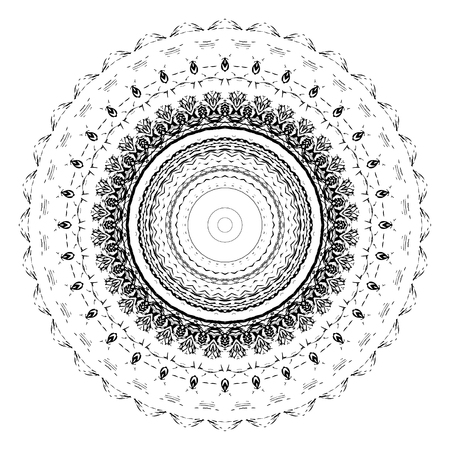 colorless: Black and white abstract pattern, mandala. Vector design template for art.