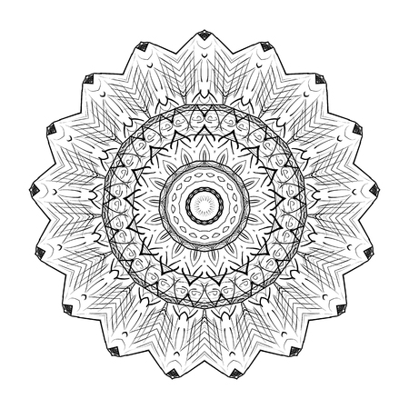 Black and white abstract pattern, mandala. Vector design template for art.