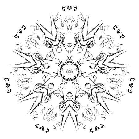 Abstraktes Schwarzweiss-Muster, Mandala. Vektordesignschablone Für ...