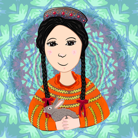 Girl with rabbit in a traditional suit.