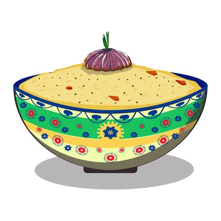 Uzbek pilaf. National dish. On white background Illustration