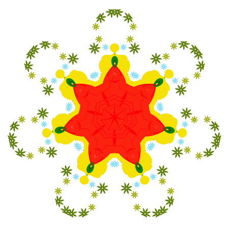 Colorful mandala on the white background. Illustration