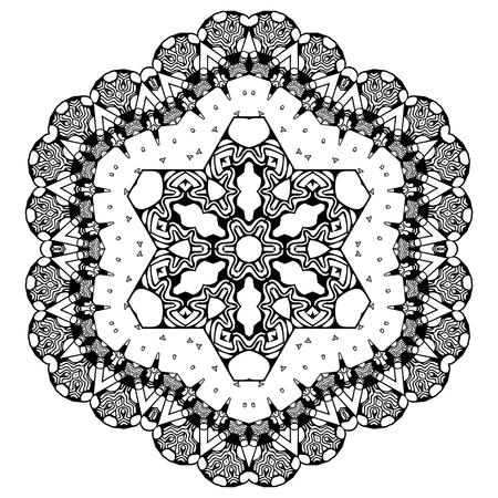 Black and white abstract pattern, mandala.
