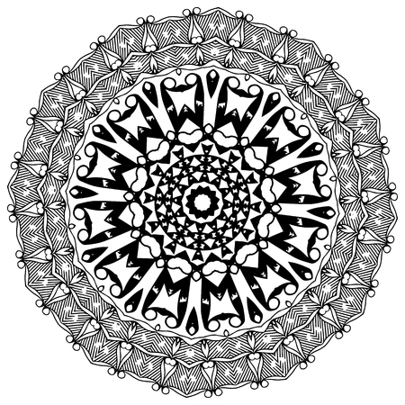 Black and white abstract pattern, mandala. Illustration