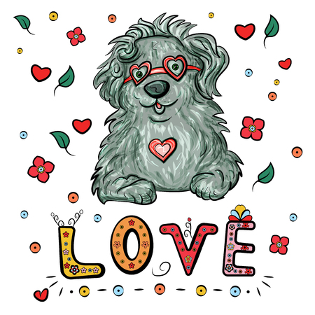 Romantic bobtail dog with heart and glasses, and lettering text Love for Valentine's Day. Vector illustration. - Vector illustration