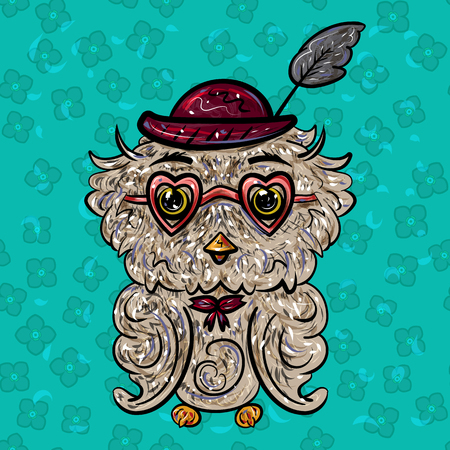 Owl in a hat with a feather and glasses with hearts. Valentines Day. Feast of Love. Vector illustration. - Vector