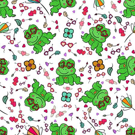 Pattern frog in doodle style. Little princess seamless pattern. Ilustração