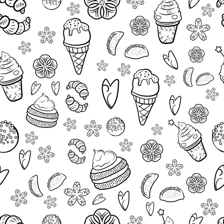 Hand drawn sweets and candies pattern. Doodles. Seamless texture. Croissant, pie, ice cream, candy pops. Black and white. Cute bakery sweets doodles black and white seamless vector pattern. - Vector. Vector illustration Çizim