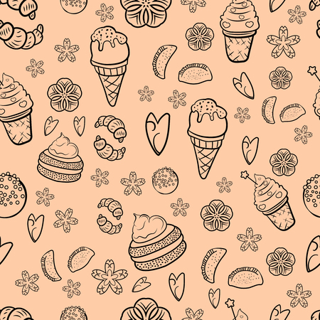 Hand drawn sweets and candies pattern. Doodles. Seamless texture. Croissant, pie, ice cream, candy pops. Cute bakery sweets doodles black and white seamless vector pattern. - Vector. Vector illustration
