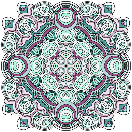 Square mandala with curls with purple and green colors. Oriental element on a transparent background. The pentagonal element of the mandala with curls with a flower in the middle. Hand drawn vector illustration. Islam, Arabic, Indian, turkish, pakistan, chinese, ottoman motifs