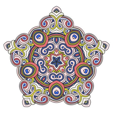 Oriental pentagonal element. Hand drawn vector illustration. Islam, Arabic, Indian, turkish, pakistan, chinese, ottoman motifs