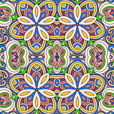 Kaleidoscope background. Floral elements, pattern symmetry. Hand drawn vector illustration. Islam, Arabic, Indian, turkish, pakistan, chinese, ottoman motifs