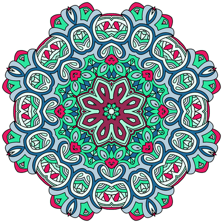 Oriental mandala, coloring mandala with a red flower in the center. Green and blue colors.. Islam, Arabic, Indian, turkish, pakistan, chinese, ottoman motifs. Vector arabesque illustration.