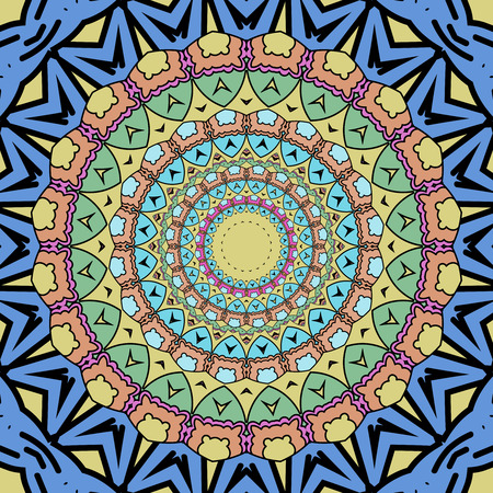 Kaleidoscope and colorful background. Hand drawn vector illustration. Islam, Arabic, Indian, turkish, pakistan, chinese, ottoman motifs Illustration