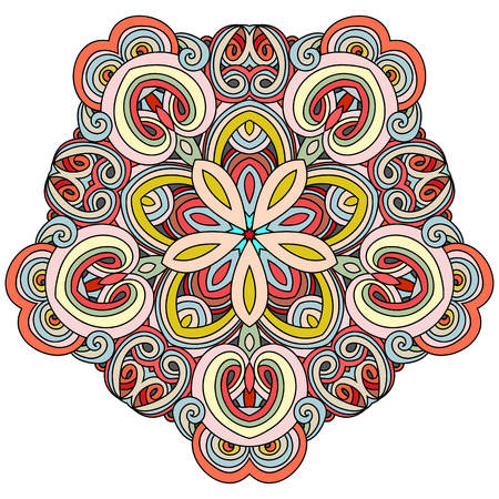 The pentagonal element of the mandala with a flower in the middle. Hand drawn vector illustration. Islam, Arabic, Indian, turkish, pakistan, chinese, ottoman motifs
