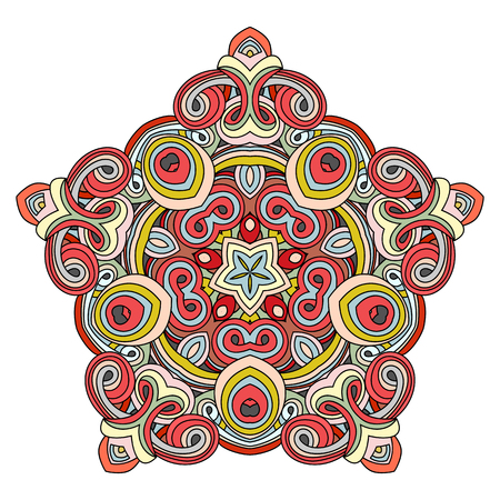 Oriental pentagonal element. The pentagonal element of the mandala with curls with a flower in the middle. Hand drawn vector illustration. Islam, Arabic, Indian, turkish, pakistan, chinese, ottoman motifs