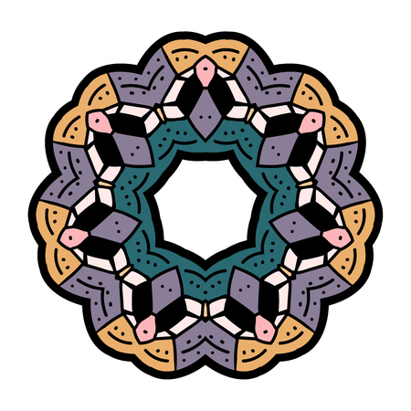 Circle Pattern. Meditative mandala. Round pattern filigree - Vector illustration
