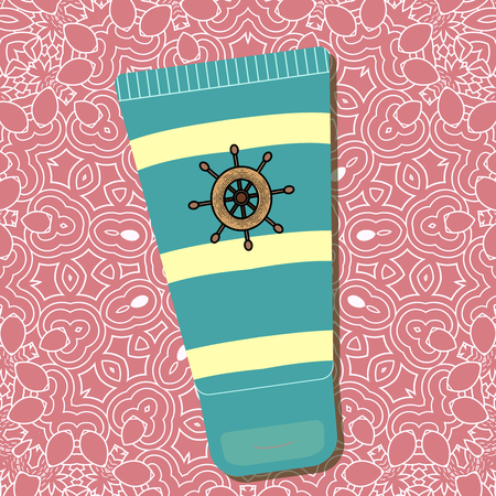 Cream leather design of a ships wheel. Package design with stripes and logo on pink background with pattern. - Vector Vectores