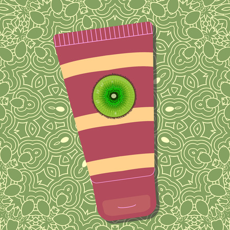 Kiwi skin cream. Package design with stripes and logo on green background with pattern. - Vector Illustration