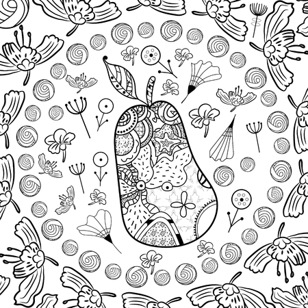 Coloring with a pear in the style of zentangl art surrounded by doodle. Coloring page for adults and kids page or book. - Vector illustration Illusztráció