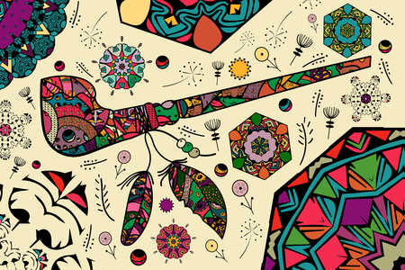 Calumet with feathers with patterns of zen art and doodle. Mandalas. Colorful smoking pipe of Indians and Apaches. - Vector. Ilustración de vector