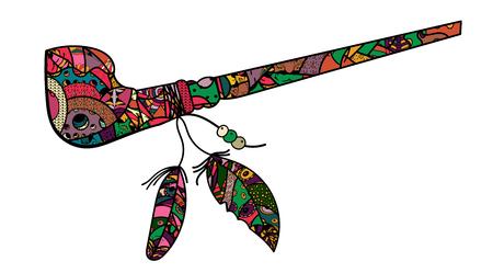 Calumet del mundo con plumas con patrones de arte zen y doodle. Pipa de colores de indios y apaches. - Vector