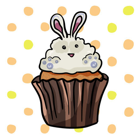 Sweet easter cupcake decorated with rabbit. - Vector. Vector illustration. Çizim