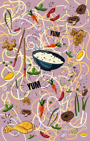 Vector poster for Japanese or Chinese cuisine restaurant menu. Asian food menu yum. Vector design of noodles, rice and vegetables - Vector illustration