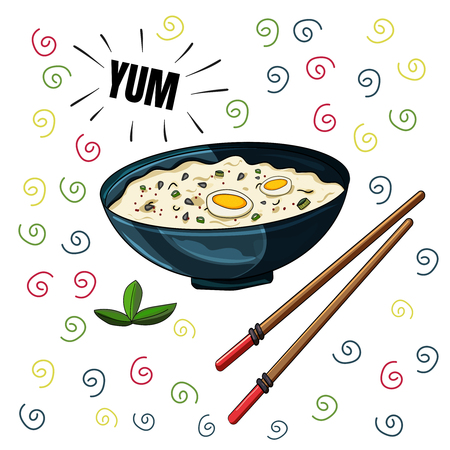 Rice in a cup and chinese chopsticks. Asias delicious menu. - Vector