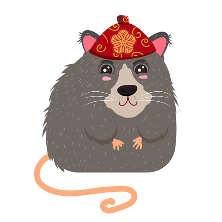 Chinese rat in a red national headdress. Symbol of the New Year 2020 Иллюстрация