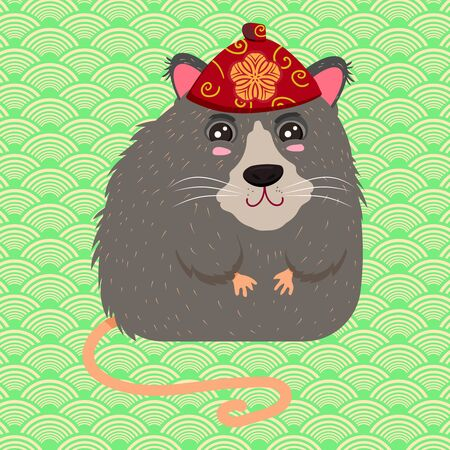 Chinese rat in a red national headdress. Symbol of the New Year 2020. Vector