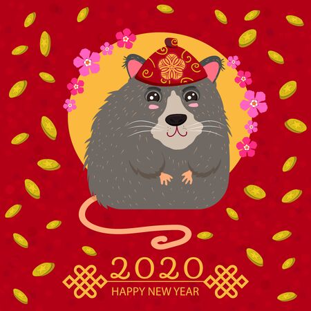 Chinese rat in a red national headdress. Gold coin. Symbol of the New Year 2020. Vector