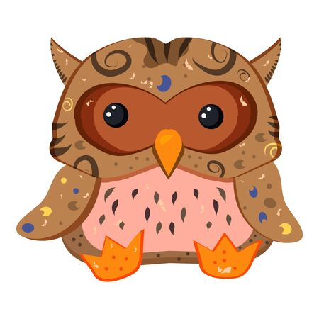 Wild forest feathered. A Cute Little Brown Owl. Nocturnal predatory bird. - Vector
