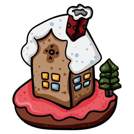 Christmas Gingerbread House. Vector gingerbread house. Christmas cookies and candy. - Vector. Stock Illustratie