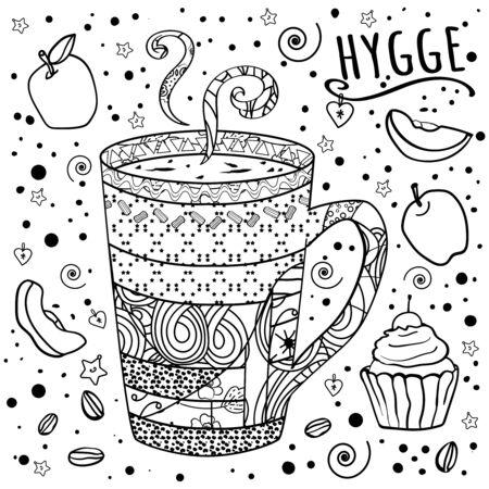Colorazione Caffè, tè e dolci. Zen, groviglio e scarabocchi. Cucine del mondo. Dolce tavola. Comodità a casa. Accogliente. - Vettore.