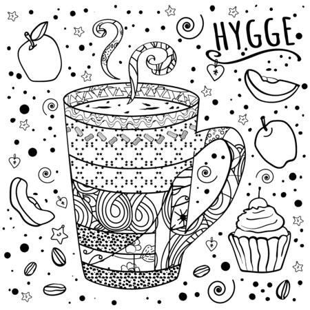 Coloring Coffee, tea and sweets. Zen, tangle and doodles. Kitchens of the world. Sweet table. Comfort at home. Cozy. - Vector.