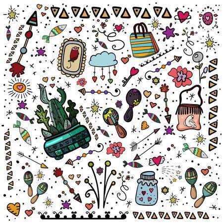 Set Happy Mexican Party. Mexican traditional holiday. Cinco de Mayo Mexican traditional fiesta and Mexico holiday. - Vector. Vector illustration Illusztráció