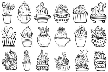 Big Set Of Cactus And Succulents. Vector collection with flowers, cacti, and succulents. - Vector. Foto de archivo - 130096570