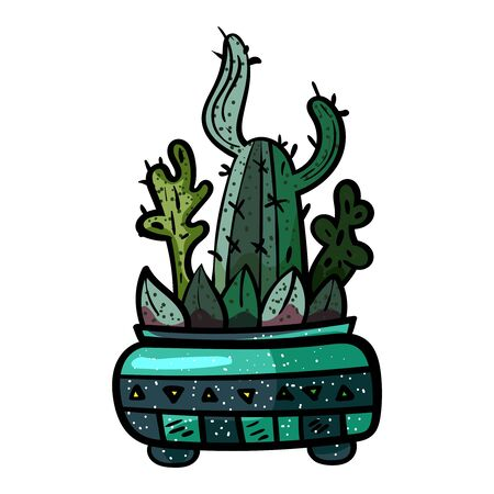 Cactus In A Pot. Botanical illustration. Succulent plant. Scandinavian style, comfort in the house. Hygge. - Vector. Vector illustration Foto de archivo - 130096576