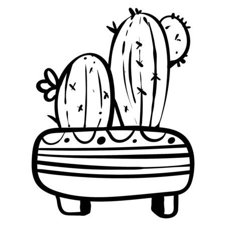Cactus in a flower pot. Botanical illustration for coloring. Coloring for children and adults. - Vector illustration. Foto de archivo - 130096581