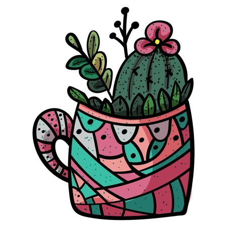 Plant from the family of succulents. Cactus in a pot circle with stripes. - Vector. Foto de archivo - 130096582