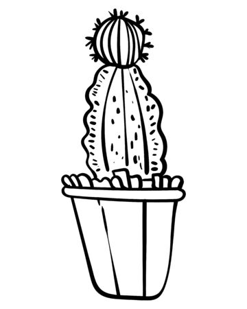Cactus in a flower pot. Botanical illustration for coloring. Coloring for children and adults - Vector Foto de archivo - 130096586