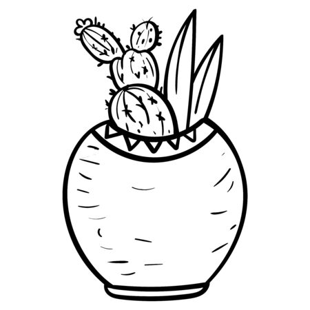 Cactus in a flower pot. Botanical illustration for coloring. Coloring for children and adults - Vector Foto de archivo - 130096583
