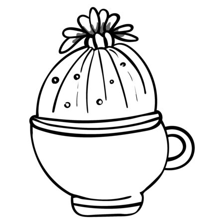 Cactus in a flower pot. Botanical illustration for coloring. Coloring for children and adults - Vector Foto de archivo - 130096588