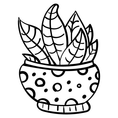 Cactus in a flower pot. Botanical illustration for coloring. Coloring for children and adults - Vector Foto de archivo - 130096587