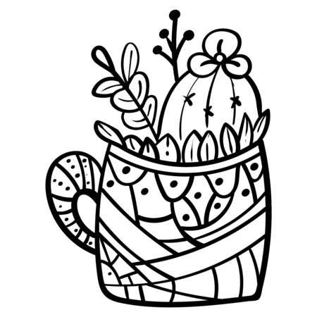 Cactus in a flower pot. Botanical illustration for coloring. Coloring for children and adults - Vector