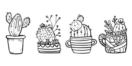 Doodles Cacti in a flower pot. Coloring book page for adult. Coloring cacti page or book. Scandinavian style, comfort in the house. Hygge. 4 cacti. - Vector. Vector illustration